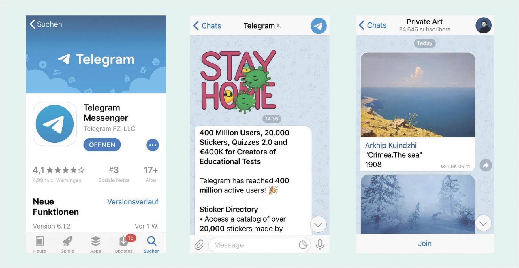 Abbildung des Messengers Telegram russische Social-Media-Kanäle