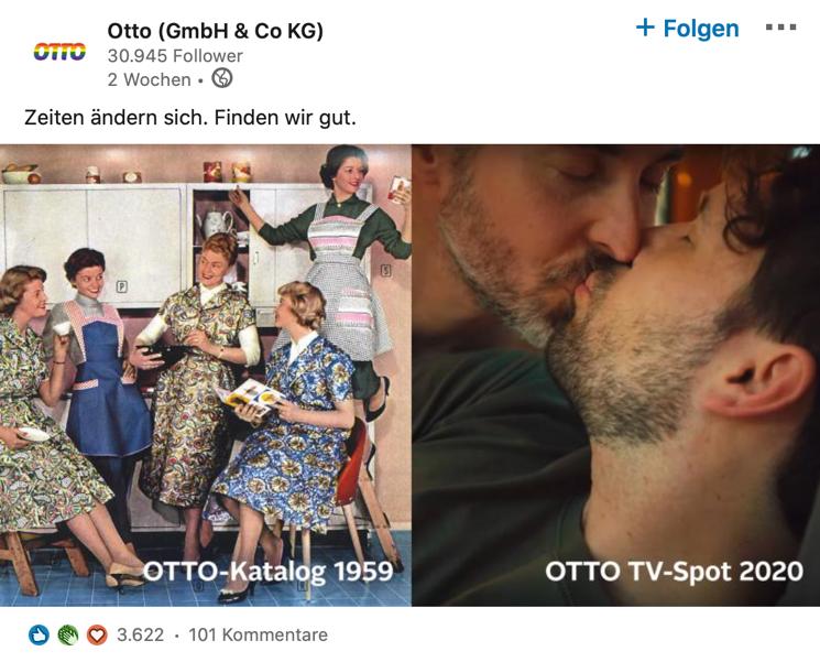 Im Wandel der Zeit – Die Otto GmbH & Co KG stellt auf LinkedIn eine Werbung von 1959 einer aktuellen Kampagne gegenüber. War die Botschaft in den 50ern ein klischeehaftes Idealbild der guten Hausfrau, so positioniert sich das Unternehmen heute auf allen Plattformen für mehr Offenheit und Akzeptanz.