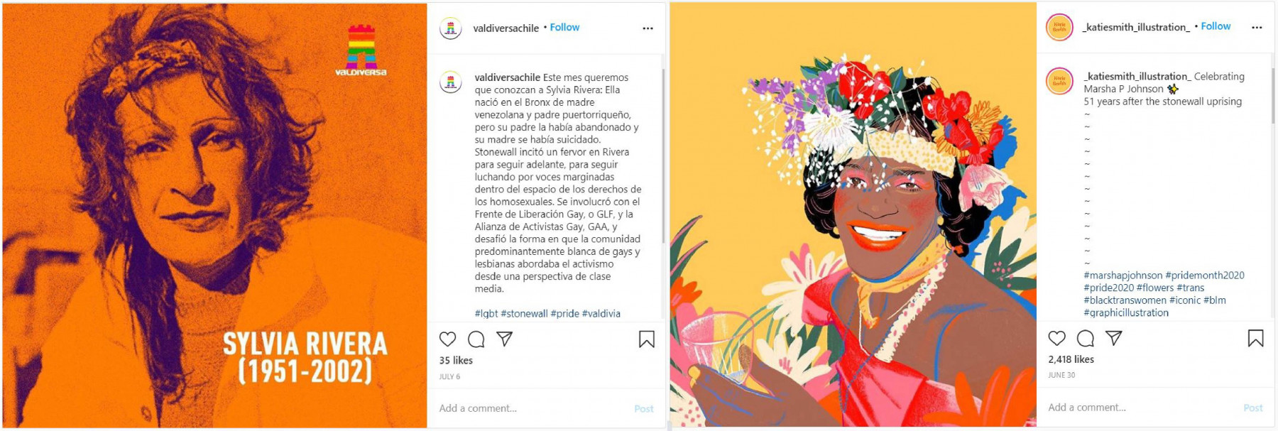 Aktivist:innen Sylvia Rivera und Marsha P. Johnson Instagram pressrelations